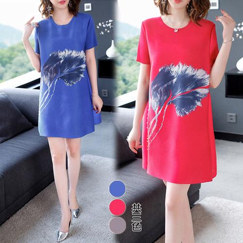 【韓國KW】(現貨) 熱帶花卉水鑽圖騰壓折洋裝