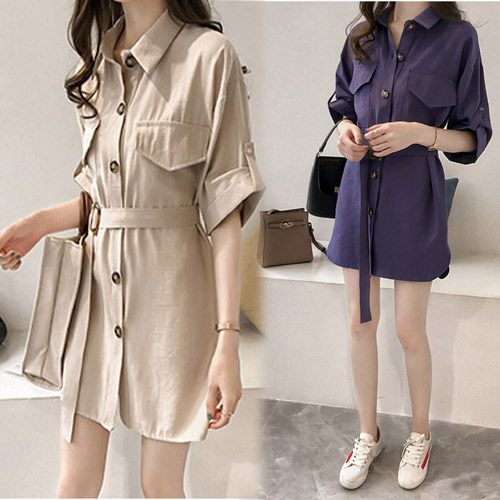 【韓國KW】(現貨) 閨蜜修身氣質素色外套洋裝二用款