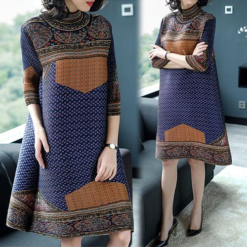 【韓國KW】(現貨) 文藝復興印花七分袖壓折洋裝