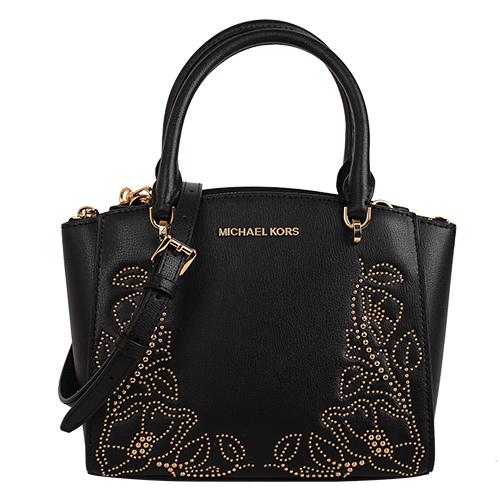 MICHAEL KORS- 鉚釘花紋皮革手提肩背包(黑)