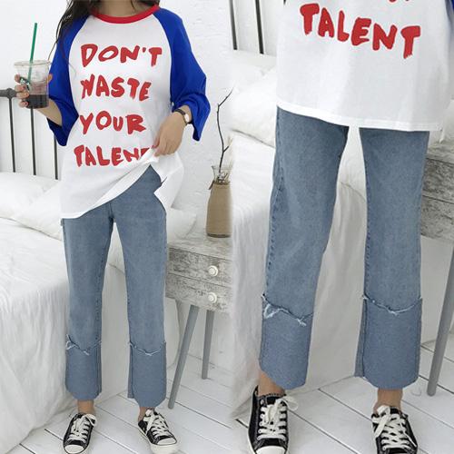 【韓國KW】(預購) M~XL大反折顯瘦寛版造型牛仔褲