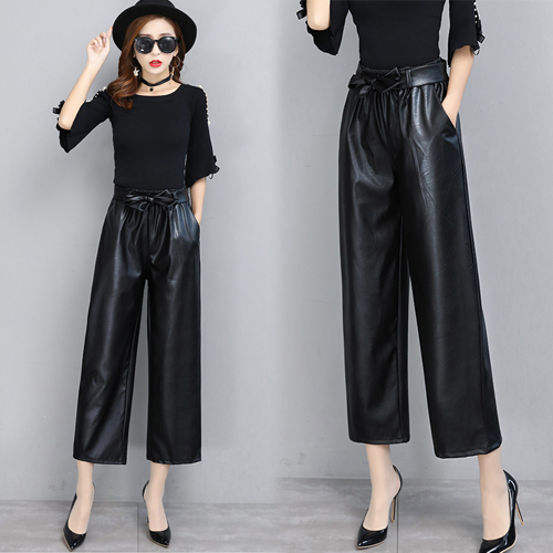 【韓國KW】(現貨) 歐美時尚俐落顯瘦百搭皮褲