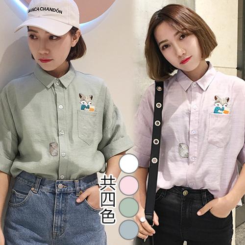 【韓國KW】(現貨) 可愛涼感材質繡花上衣襯衫