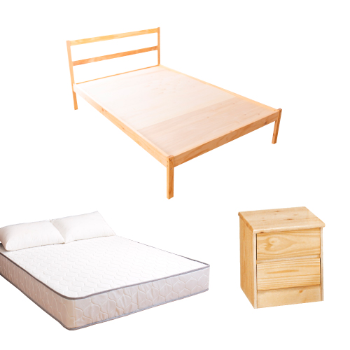 AS-頂級松木單人床三件房間組(床架+床墊+床頭櫃)