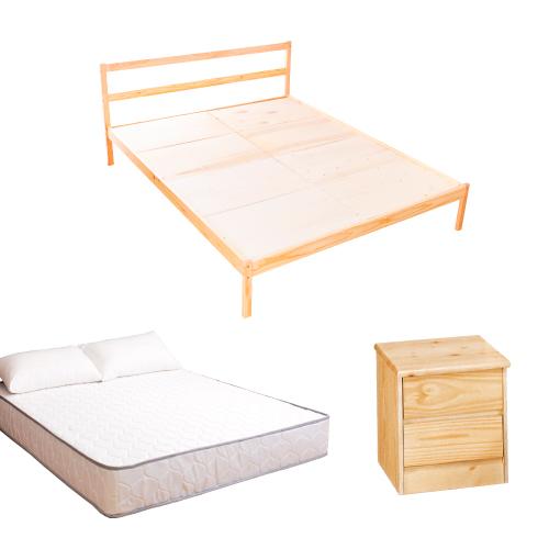AS-頂級松木雙人床三件房間組(床架+床墊+床頭櫃)