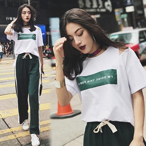 【韓國KW】(現貨) 休閒字母印花鬆緊腰闊腿長褲套裝