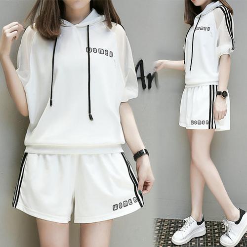 【韓國KW】(現貨) 優美柔緞連帽短袖套裝