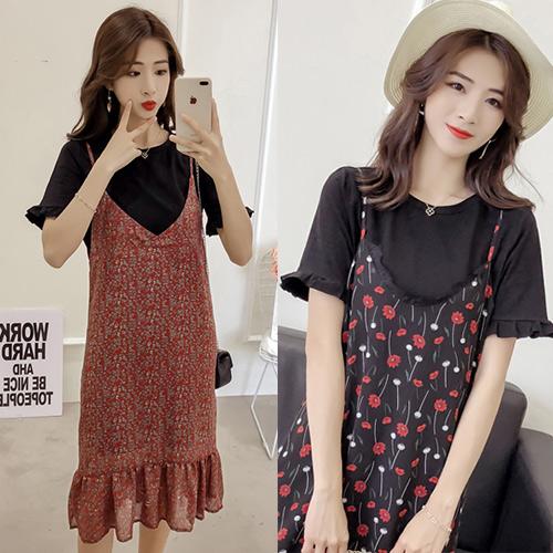 【韓國KW】(現貨) 夏清涼感風碎花雪紡二件式洋裝