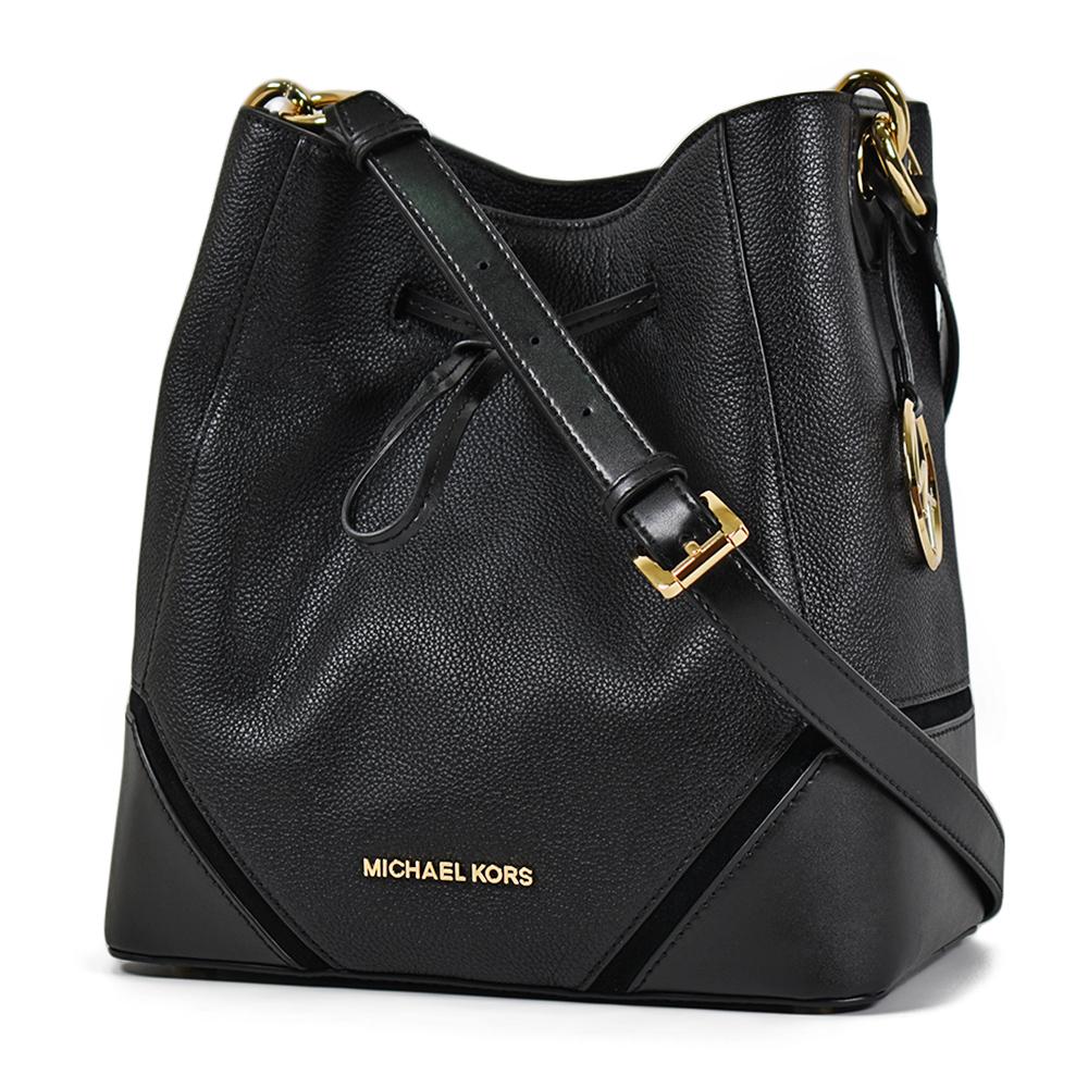 MICHAEL KORS 專櫃款 荔枝紋麂皮飾邊束口水桶包-黑色/大