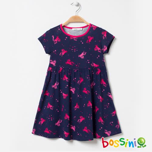 bossini女童-印花連身洋裝03藏藍色