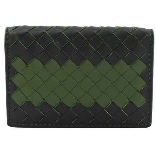 BOTTEGA VENETA 手工編織撞色皮革名片夾.黑綠