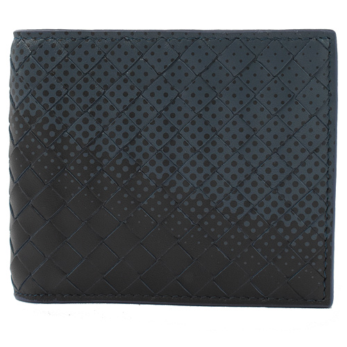 BOTTEGA VENETA 編織漸層點點八卡短夾.黑/藍