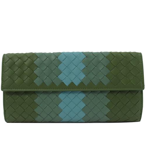 BOTTEGA VENETA 手工編織民族風扣式長夾.綠
