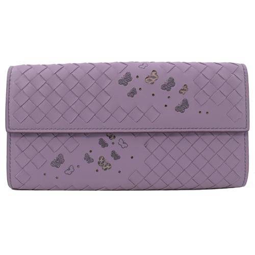 BOTTEGA VENETA 蝴蝶刺繡手工編織扣式長夾.紫