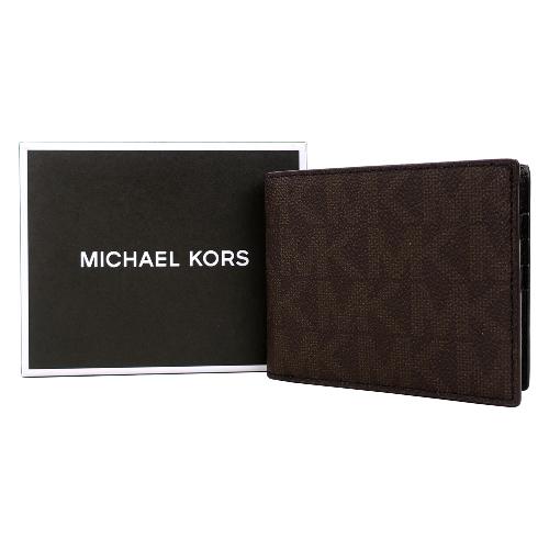 MICHAEL KORS JET SET滿版八卡短夾附支票夾(咖)