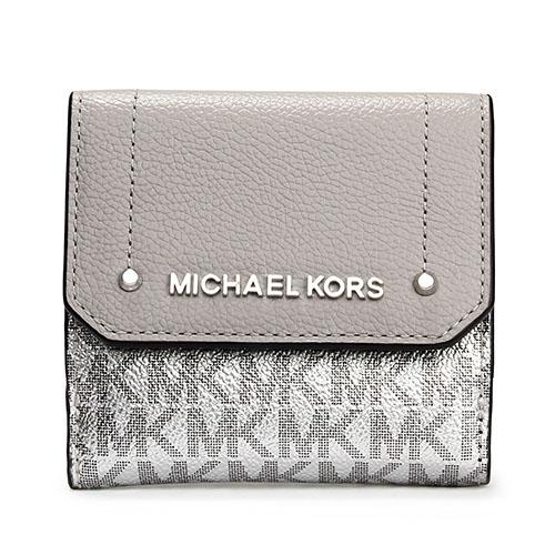 MICHAEL KORS HAYES 滿版LOGO拼接荔枝紋皮革壓釦三折短夾-銀灰色