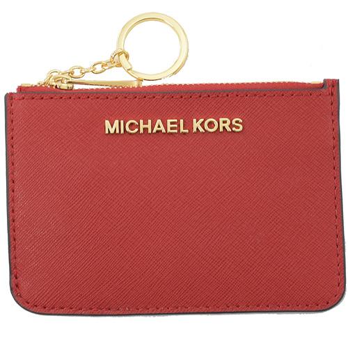 MICHAEL KORS JET SET 浮雕LOGO鑰匙環零錢包.辣椒紅