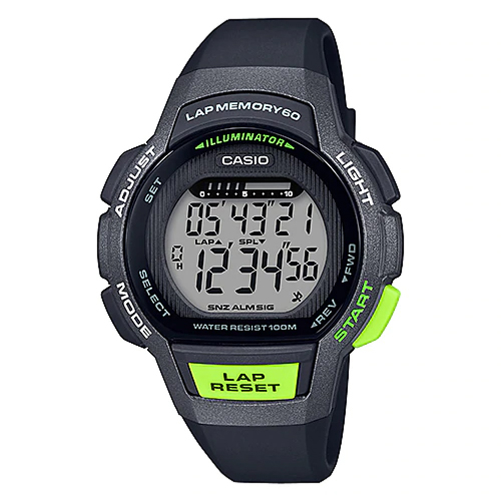 CASIO 卡西歐 運動電子女錶 橡膠錶帶 黑X綠 防水100 米(LWS-1000H-1A)
