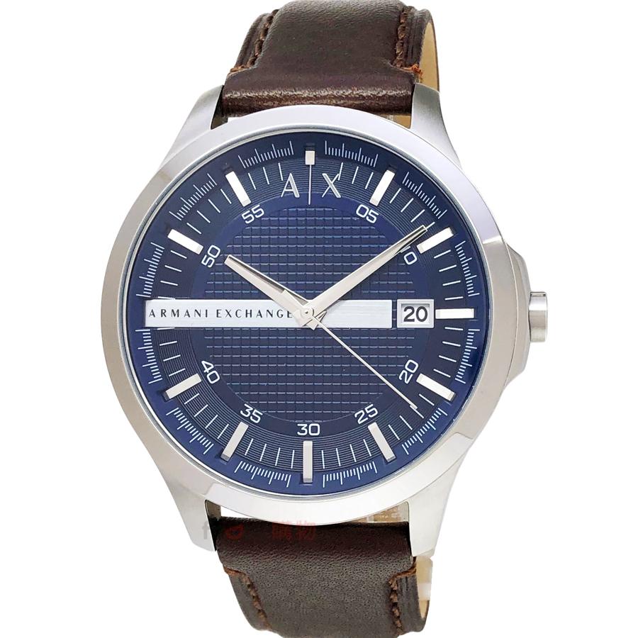 AX ARMANI EXCHANGE AX2133 都會紳士 男錶 藍面立體格紋咖啡皮帶 手錶