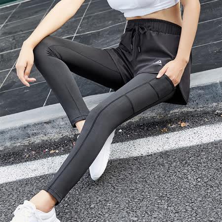 KISSDIAMOND 彈力假兩件時尚瘦腿運動褲