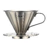 Tiamo 0916 V01不鏽鋼咖啡濾杯組-附濾紙 量匙 (砂光) 1-2杯份 (HG5033)