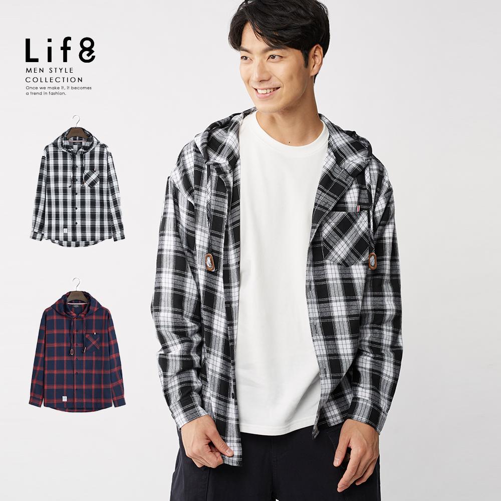 【Life8】Casual 格紋連帽長版襯衫型外套-10187