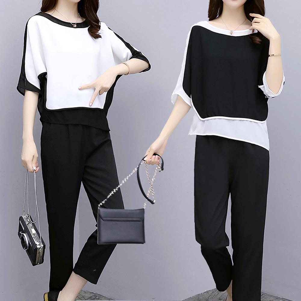 麗質達人(XL-5XL)黑白雪紡上衣+褲子二件組-二色6831