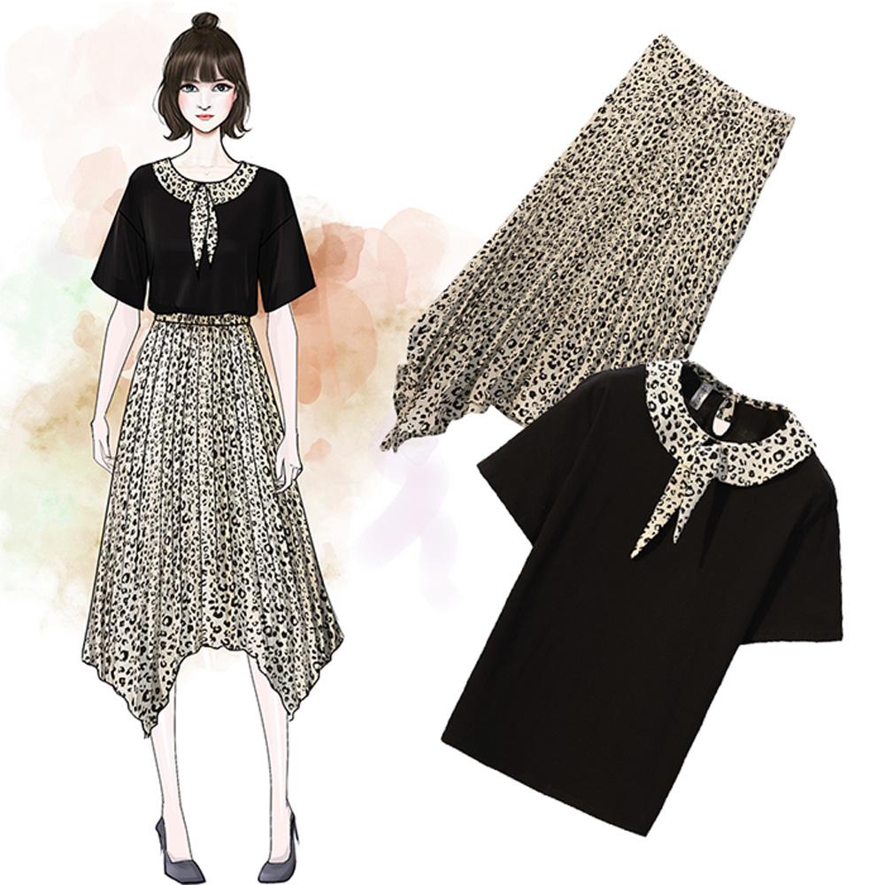 麗質達人(XL-5XL)上衣+雪紡裙二件組19186