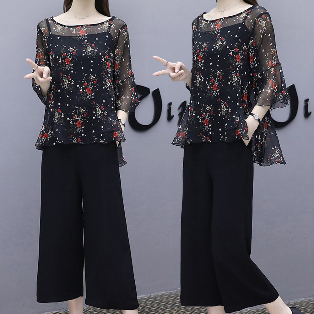 麗質達人(XL-5XL)印花上衣+吊帶+寬褲8408
