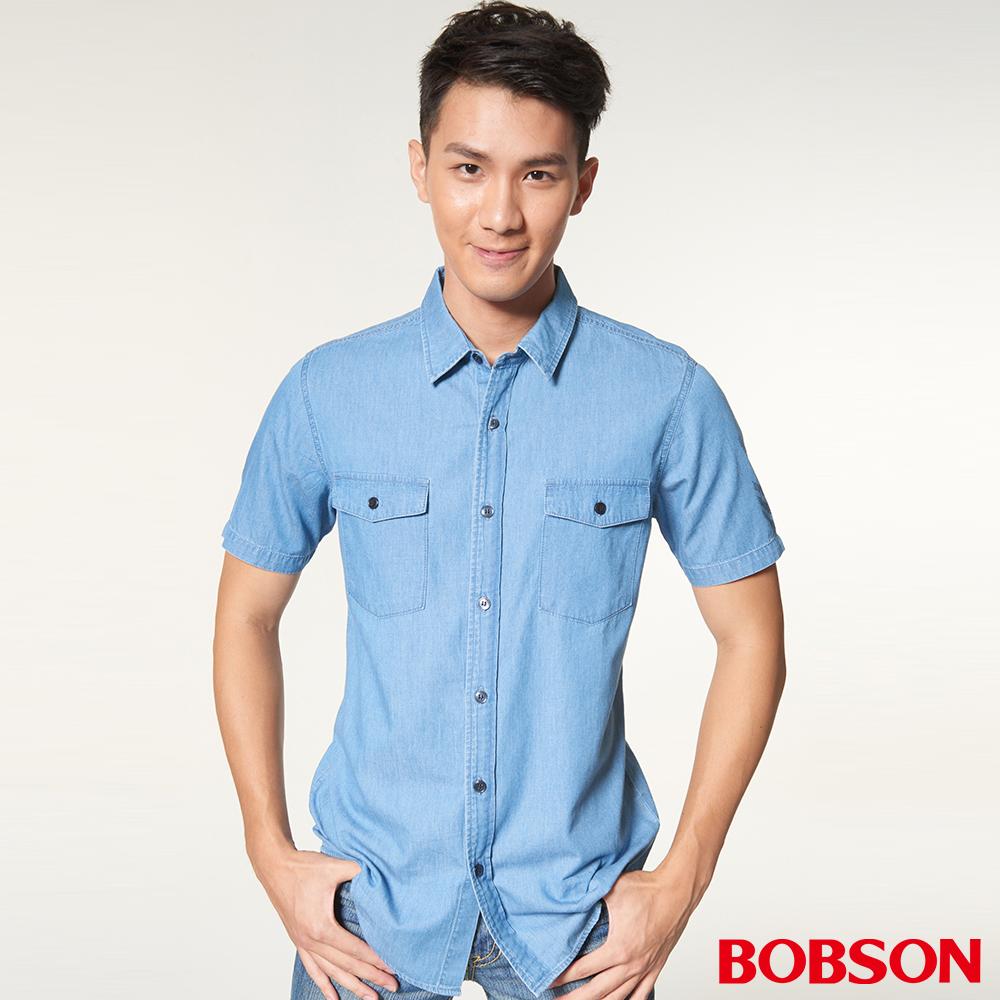 BOBSON男款牛仔印圖襯衫(27001-58)
