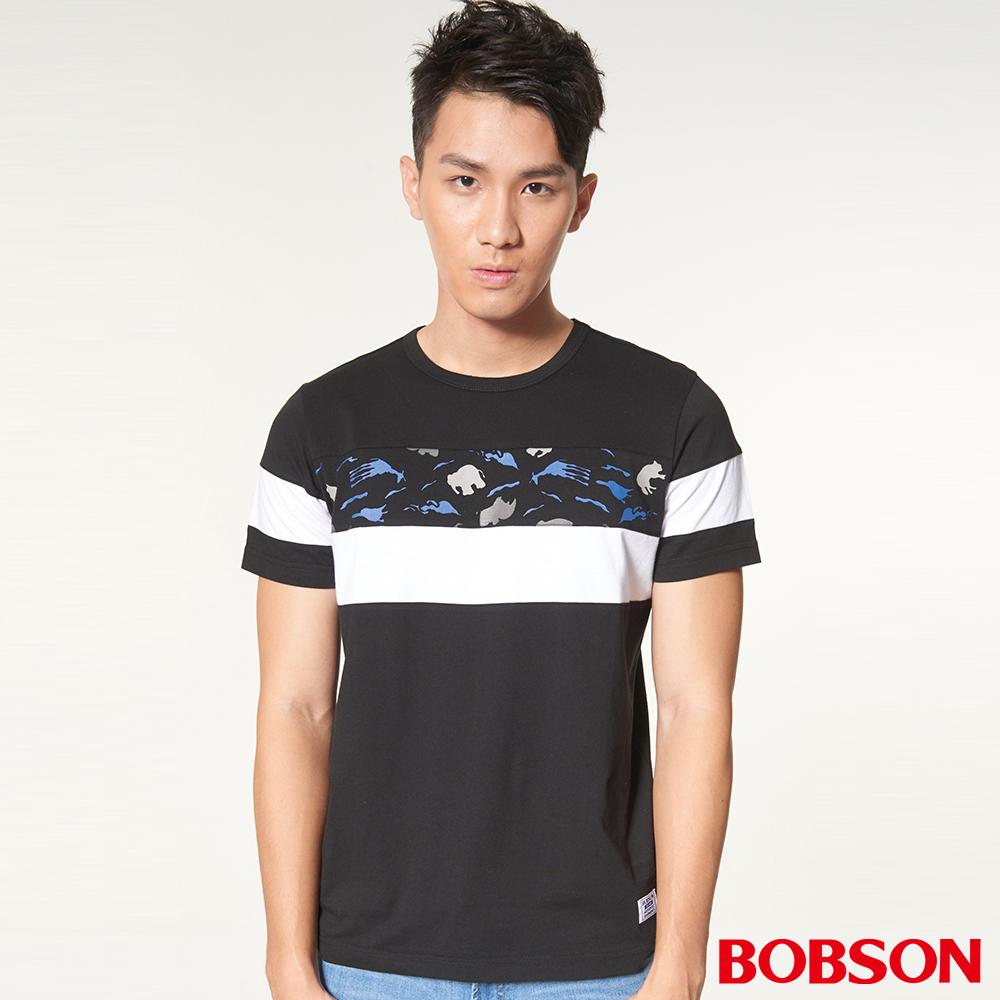 BOBSON男款剪接拼色印圖上衣(27018-88)