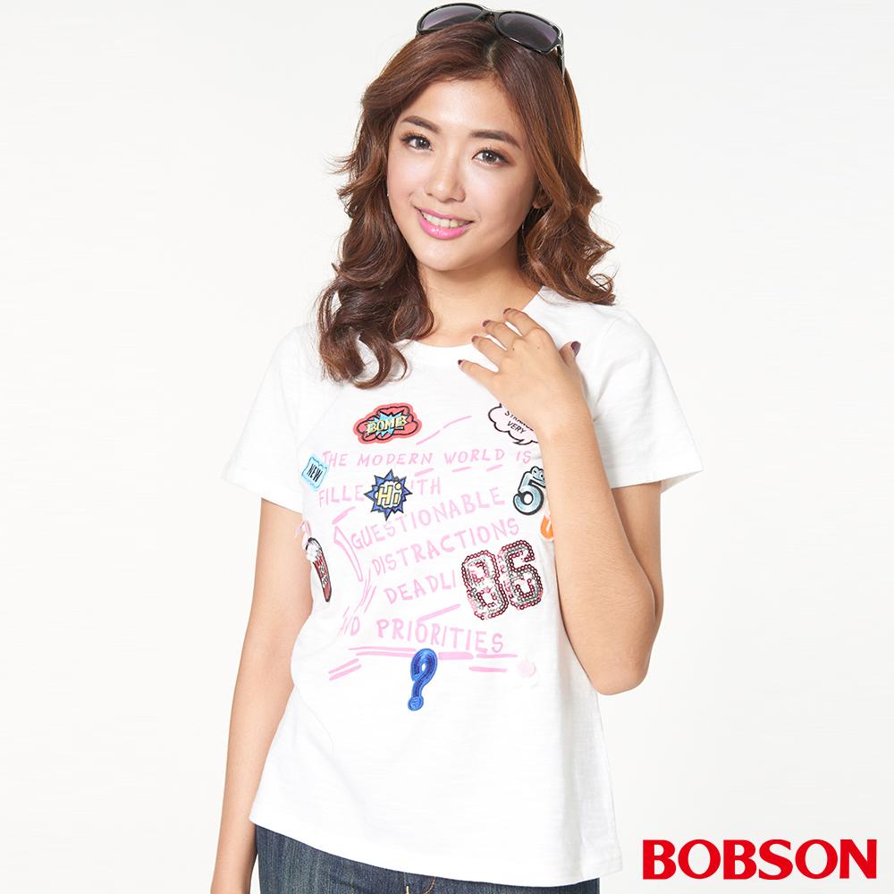 BOBSON女款貼繡圖案上衣(27088-81)