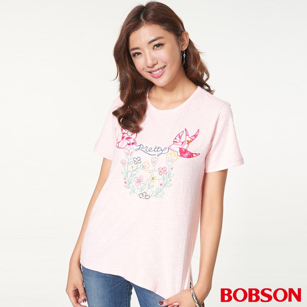 BOBSON女款刺繡寬版上衣(27092-21)