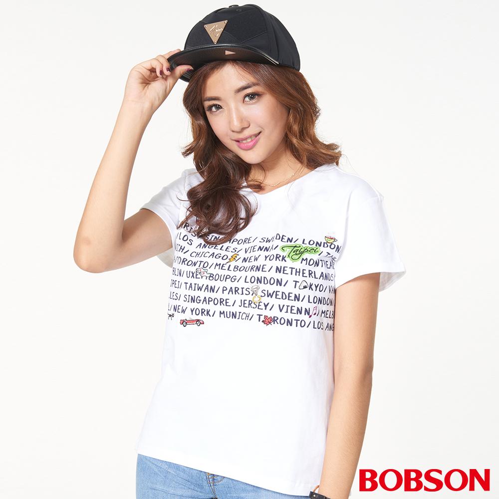 BOBSON女款圖案、寬版上衣(27093-81)
