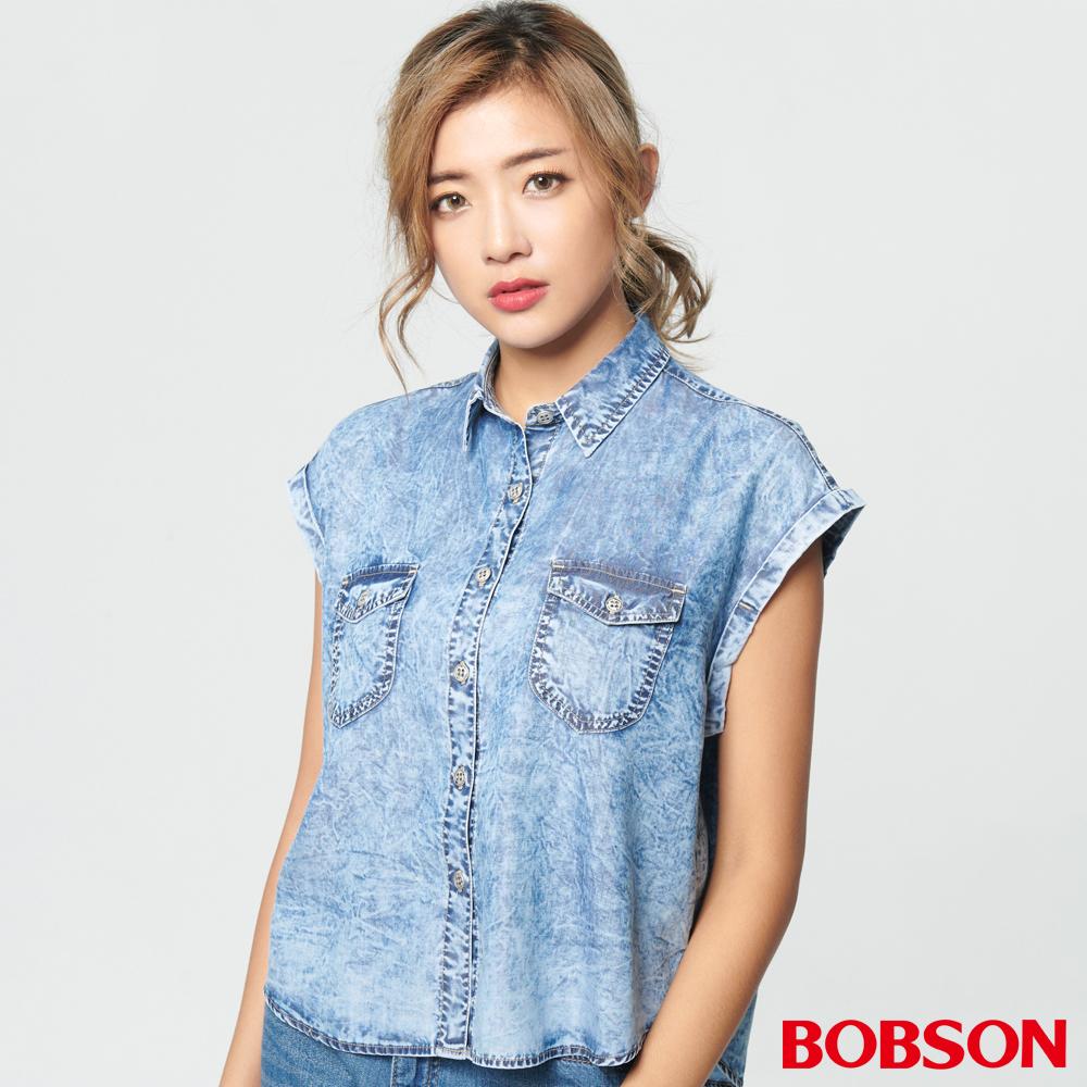 BOBSON女款天絲棉小連袖襯衫 (27121-53)