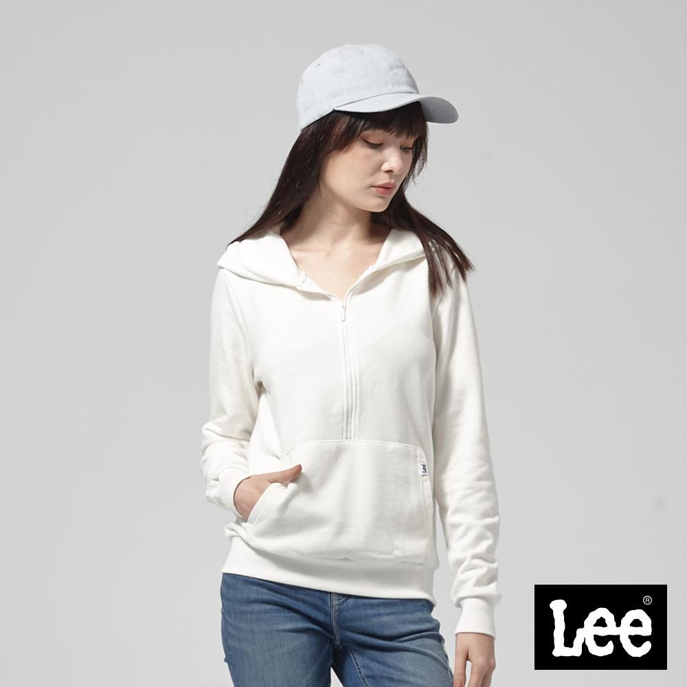 Lee 前開襟長袖連帽TEE恤/RG--牙白
