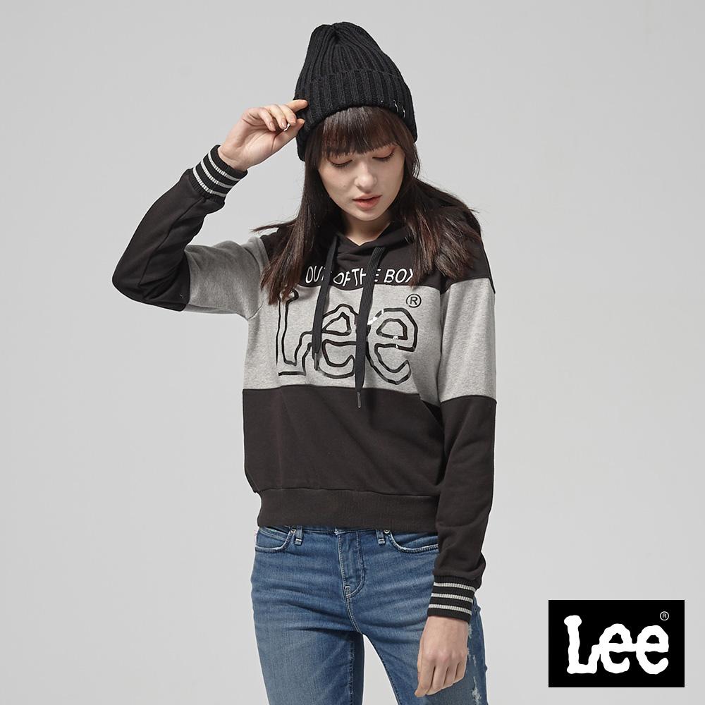 Lee 黑白色塊拼接長袖連帽TEE恤/RG--黑+麻灰
