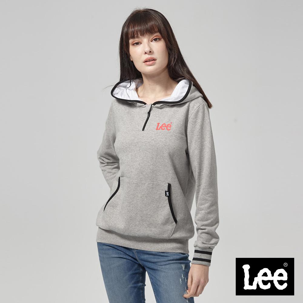 Lee 半開襟長袖連帽TEE恤/RG--麻灰