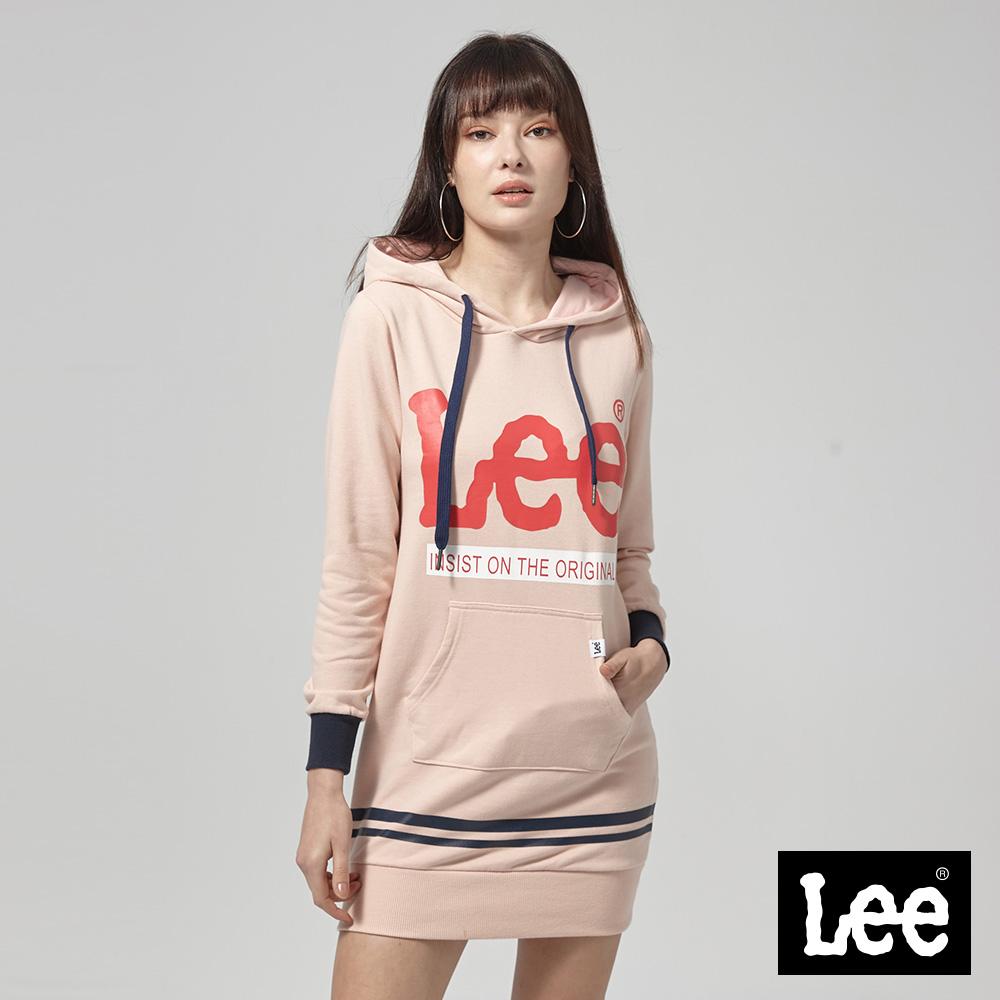 Lee 長版大LOGO長袖連帽TEE恤/RG--杏