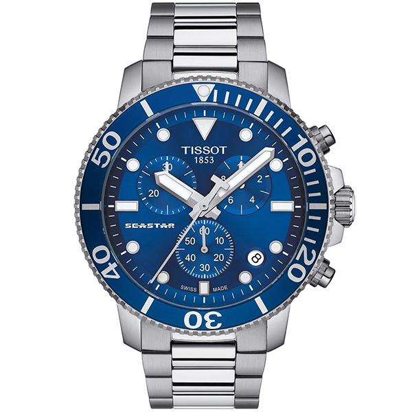 TISSOT 天梭 Seastar 1000海洋之星300米潛水三眼計時石英錶-45.5mm/藍 T1204171104100