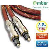 amber 極高品質光纖數位音訊傳輸線角型接頭Toslink對Toslink,PREMIUM Optical Digital Audio S/PDIF Cable-【1.2m】