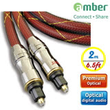 amber 極高品質光纖數位音訊傳輸線角型接頭Toslink對Toslink,PREMIUM Optical Digital Audio S/PDIF Cable-【2m】