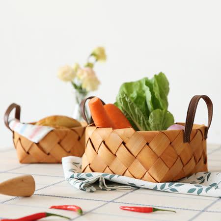 Homely Zakka木趣食光 木片手提編織野餐籃