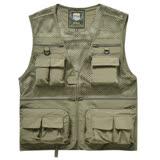 PUSH!戶外休閒用品多功能16口袋背心夾克戶外攝影釣魚馬甲背心F26卡其