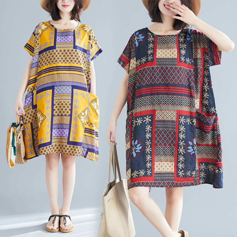 【Maya Collection】圓領夏季棉麻大碼寬版鄉村風格拼布圖洋裝-2色