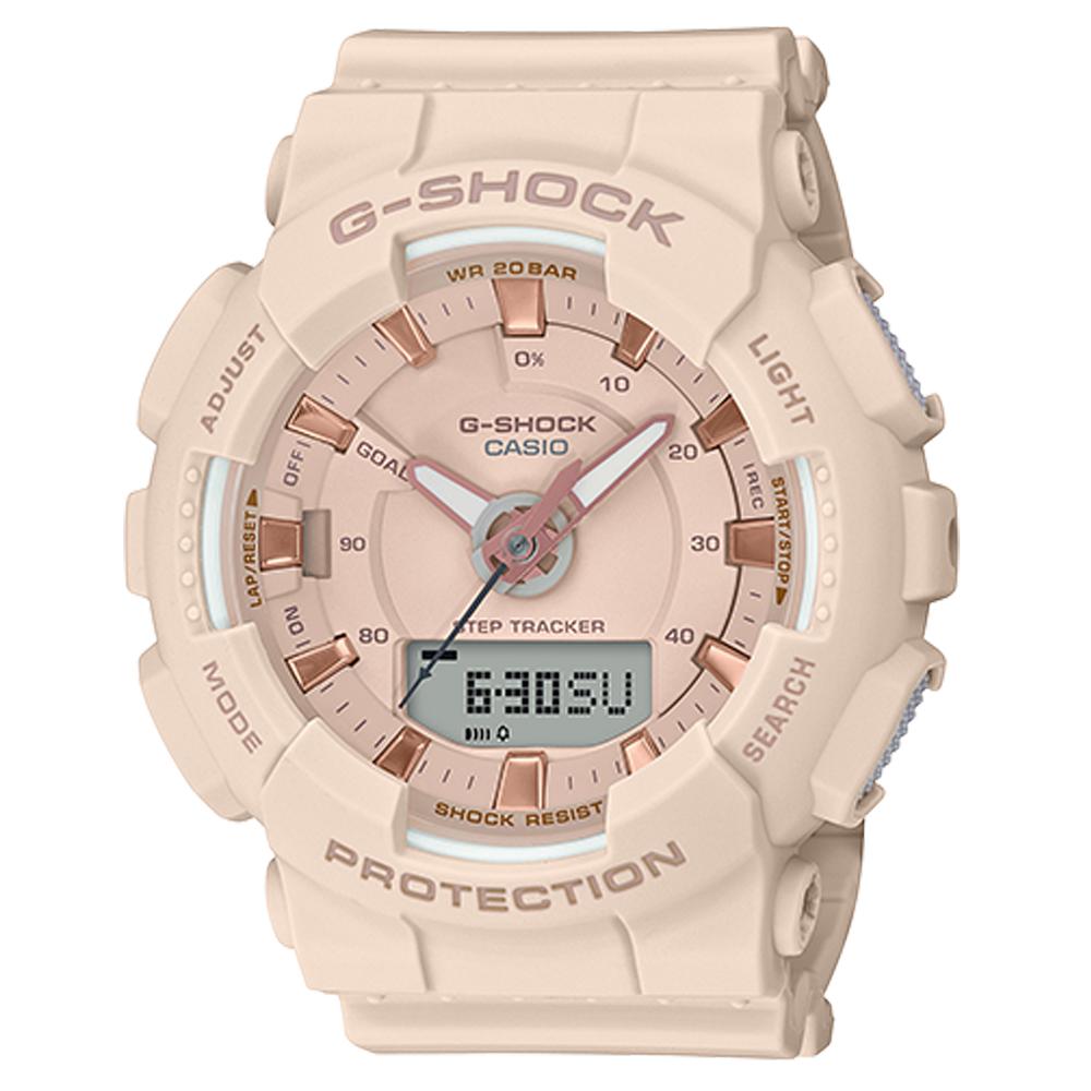 CASIO 卡西歐 G-SHOCK 運動雙顯女錶 橡膠錶帶 粉色X玫瑰金 防水200米 計步器(GMA-S130PA-4A)