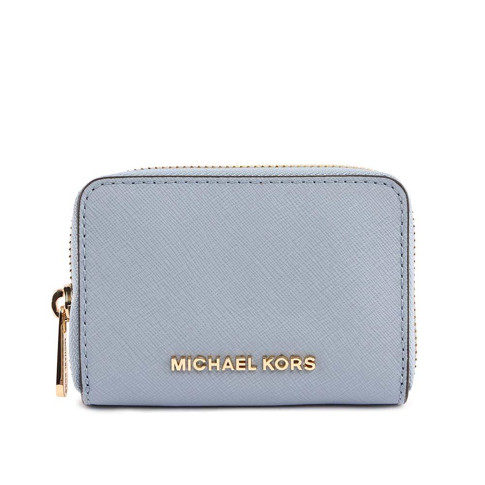 【MICHAEL KORS】素面防刮皮革ㄇ拉零錢/卡片夾(粉藍色) 35H8GTVZ5L PALE BLUE