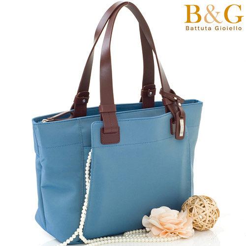 B&G 極簡風口袋多隔層托特包(蔚海藍)