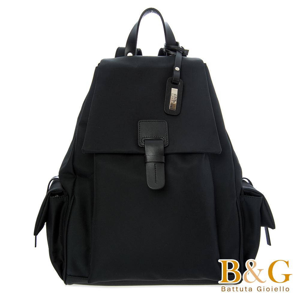 B&G 輕盈多口袋雙肩後背包(絲光黑)