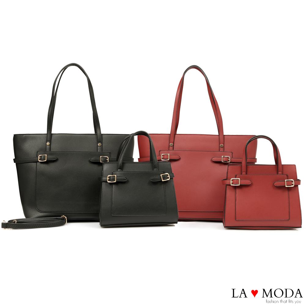 La Moda 質感滿分百搭肩背手提子母包托特包(共2色)